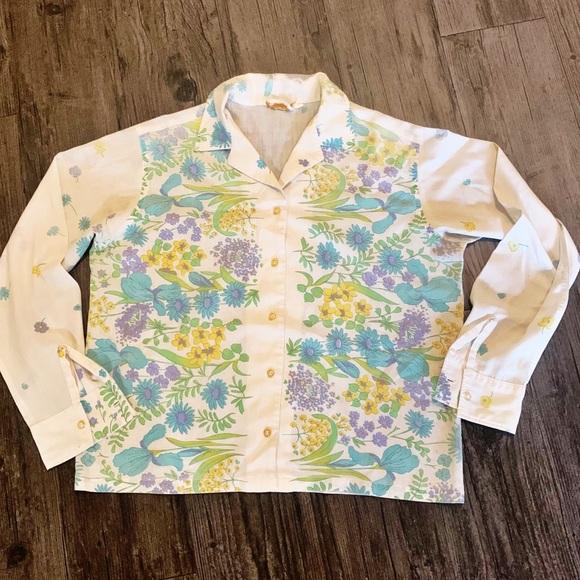 Vintage 60's 70's Floral Paisley Patterned Blouse